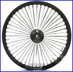 Ultima Black 26 3.5 48 Fat King Spoke Front Wheel Rim Harley Touring Single Disc