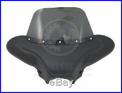 Universal Matte Black Cruiser Front Fairing Batwing bat wing & Tinted windshield