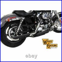 Wyatt Gatling Black 2 Slip-On Exhaust Mufflers for 2014-2019 Harley Sportster